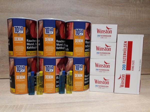 6x Denim 65g Volumentabak + 1000 Winston Hülsen + 2 Feuerzeuge