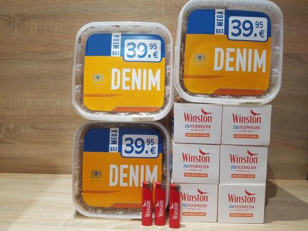 3x Denim 290g Volumentabak + 1500 Winston EXTRA Hülsen + 3 Feuerzeuge
