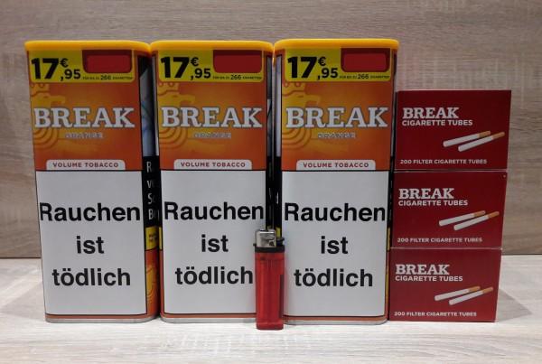 3x BREAK Orange 110g Volumentabak + 600 Filterhülsen + 1 Feuerzeug