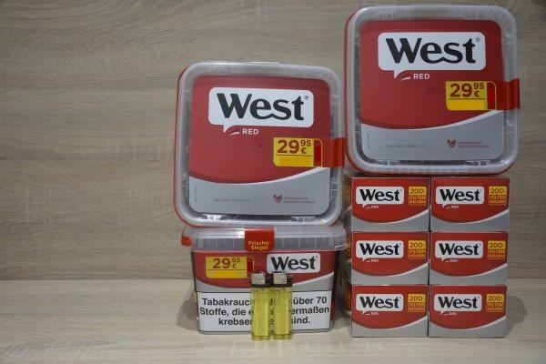 3x West Red 155g Volumentabak + 1.200 Filterhülsen + 2 Feuerzeug