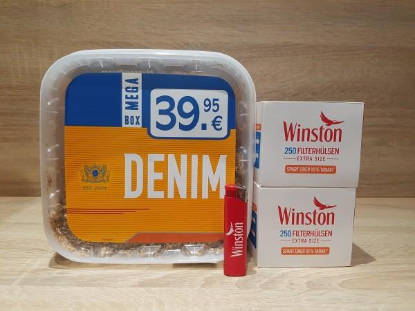 1x Denim 290g Volumentabak + 500 Winston Extra Hülsen + 1 Feuerzeug